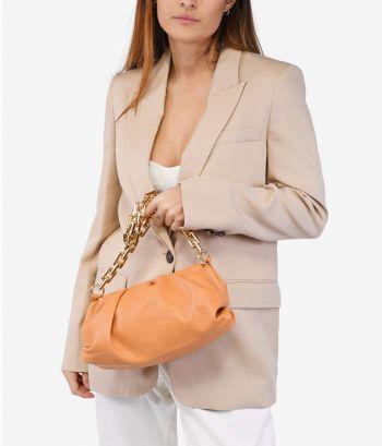 Bolso pouch naranja con cadena