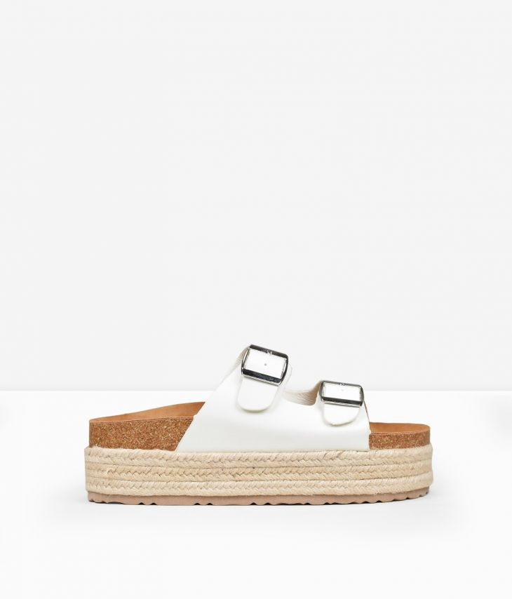 Sandalias blancas plataforma esparto