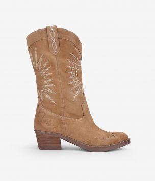 Bota cowboy en piel