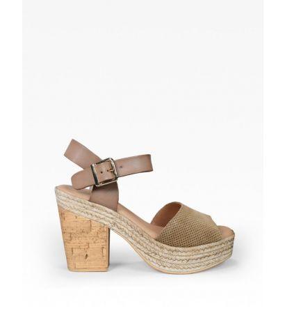 Sandalia piel con tacón