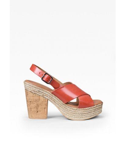 Sandalias rojas piel