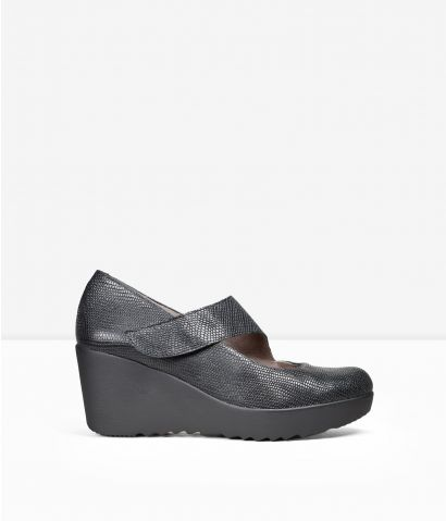 Zapatos cuña piel