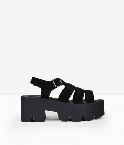 Sandalias negras piel plataforma
