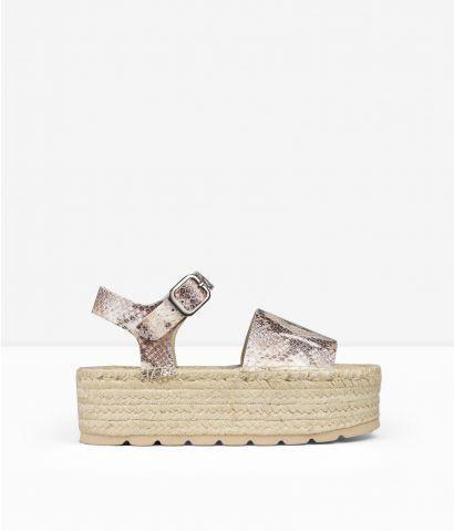 Sandalias piel serpiente plataforma