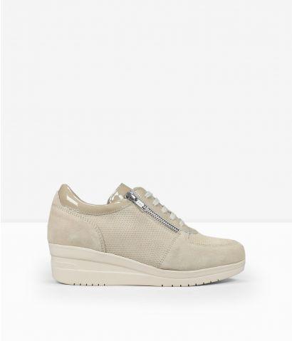 Zapatillas beige en piel
