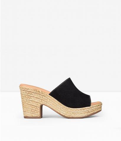 Sandalias negras piel