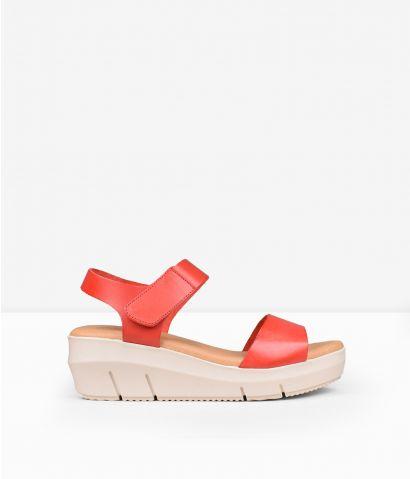 Sandalias roja piel