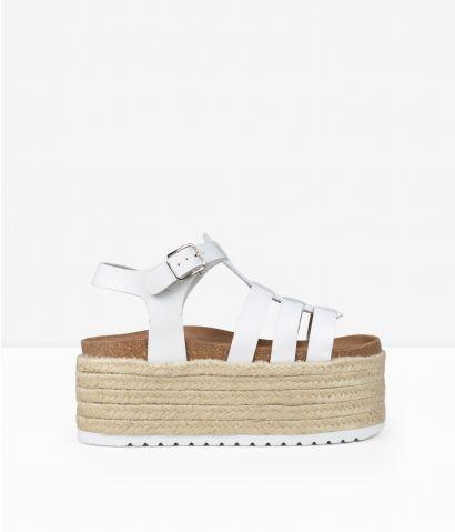 Sandalias blancas esparto piel
