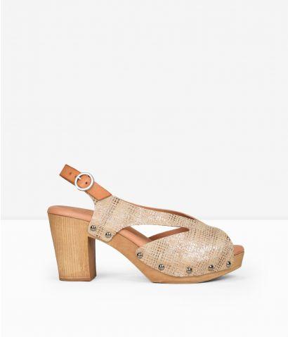 Sandalias piel  tacón