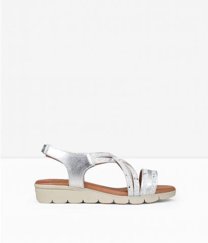 Sandalias plateadas piel