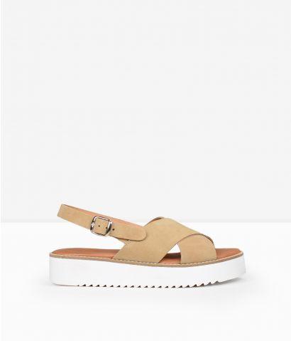 Sandalias beige piel