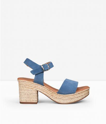 Sandalias azules piel
