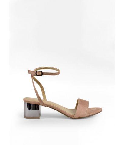 Sandalias tacón metalizado