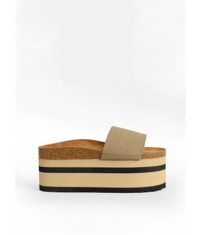 Sandalias con plataforma rayada