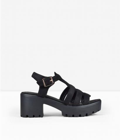 Sandalias negras tacón ancho