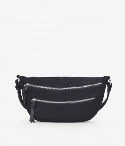 Mini bolso negro con cremalleas
