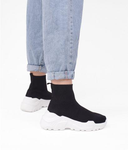 Zapatillas calcetín negro con plataforma
