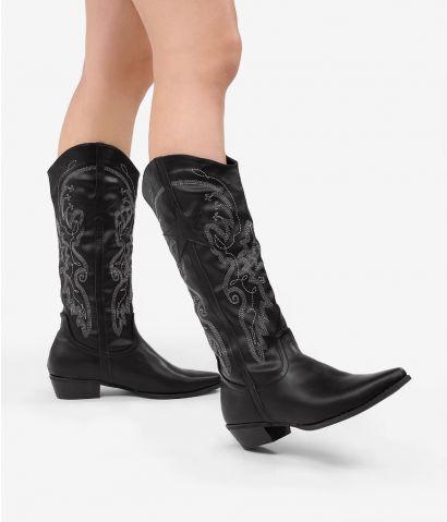 Bota cowboy negra