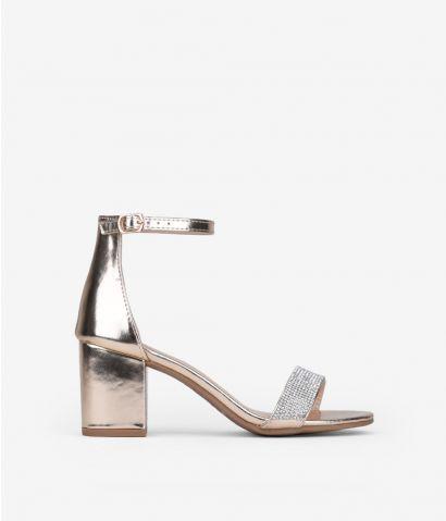 Sandalias brillantes tacón