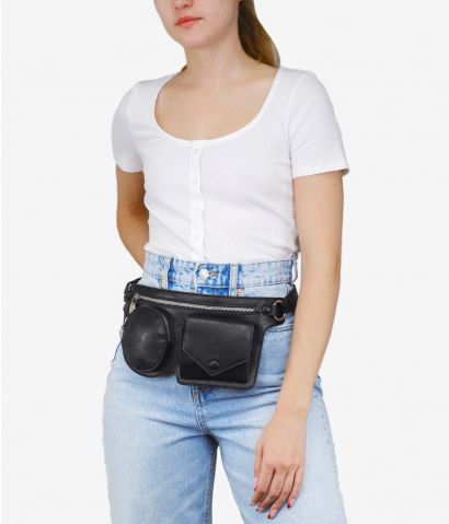 RIñonera plana con bolsillos